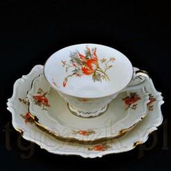 Dekoracyjny i cenny zestaw śniadaniowy z porcelany Sorau