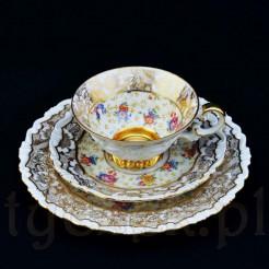 ekskluzywne trio z żarskiej porcelany z pięknym zdobieniem