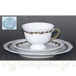 Sorau zjawiskowe Trio z białej porcelany z kwiecistym dekorem