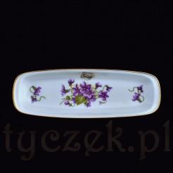 Damska tacka z białej porcelany dekorowanej uroczymi fiołkami