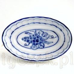 Stara foremka z ceramiki białej zdobionej winogronami
