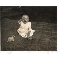 Mała dziewczynka z zabawkami siedzi na pikowanej narzucie na trawie