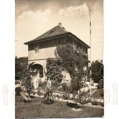 Okazała willa wraz z zadbanym ogrodem sfotografowana letnią porą
