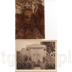 Zadumany mężczyzna przy grobie oraz rodzinna mogiła na pamiątkowych zdjęciach