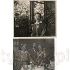 Pani wśród kwiatów oraz trzy panie przy stoliku na dawnej fotografii