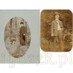 Spacer po lesie z psem oraz elegancki mężczyzna na dwóch czarno białych fotografiach