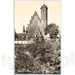 Arsenał wojskowy, dawna zbrojownia w Jaworze na pamiątkowej, czarno białej pocztówce