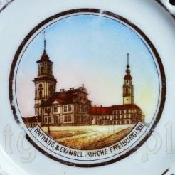 """Antyczny suwenir """"Rathaus & Evangel.-Kirche FREBURG i Schles"""""""