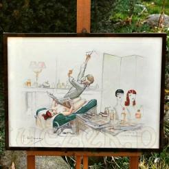 Oryginalna barwna litografia z erotyczną scenką rodzajową autorstwa francuskiego artysty Gastona Hoffmanna