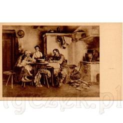 Radosna scenka z wiejskiego życia rodziny z dwójką dzieci na obrazie Franciszka Ejsmonda