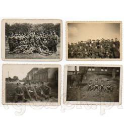 Zdjęcia żołnierzy polskich w pełnym umundurowaniu, z bronią i koniem