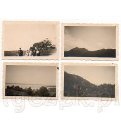 Komplet czterech fotografii ukazujących malowniczy krajobraz górski Alp Bawarskich