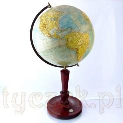 Okazały Globus 3 D na reprezentacyjnej nodze drewnianej