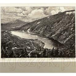 Sygnowana akwaforta z widokiem na Karkonosze.