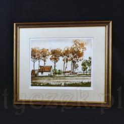 Poetycka grafika ukazuje piękny krajobraz wiejski wraz z zabudową i drzewam