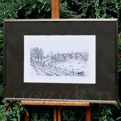 Wiejski krajobraz na horyzontalnej grafice znanego artysty.