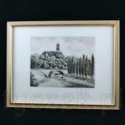 Giebiechenstein – zamek arcybiskupów magdeburskich na XX wiecznej akwaforcie