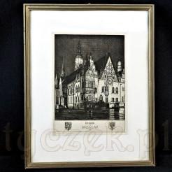 artysta z dbałością o szczegóły architektoniczne przedstawił budynek Ratusza w dawnym Breslau.