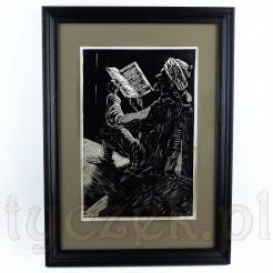 Zachwycająca kompozycja z wizerunkiem mężczyzny czytającego książkę.
