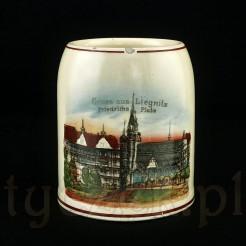 LIEGNITZ Ceramiczny kufel z widokiem z końca XIX wieku