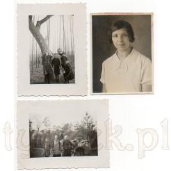 Dwie fotografie w plenerze w miejscowości Lonnerstadt oraz portret młodej dziewczyny Marie z 1934 r.
