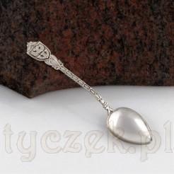 Pamiątkowy srebrny drobiazg - łyżeczka z herbem Duisburga.