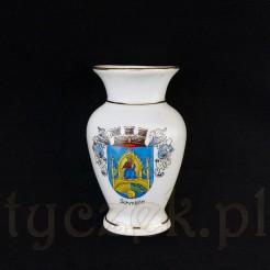 Herbowy wazonik porcelanowy