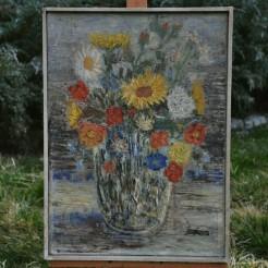 Pokaźny bukiet w wazonie – obraz olejny Stanisława Hertmana ze Świdnicy