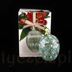 Pięknie dekorowane szklane jajo marki Hutschenreuther w tekturowym pudełku.