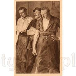 Trzej robotnicy reprezentujący klasę robotniczą na dawnej pocztówce