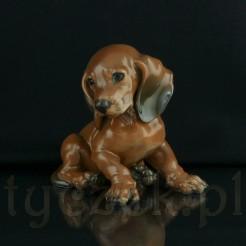 Urocza porcelanowa figurka jamnika