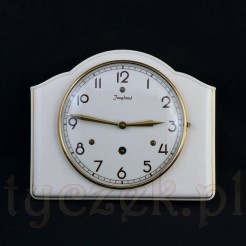 Gustowny zegarek ścienny w kremowej ceramice ze złoceniem