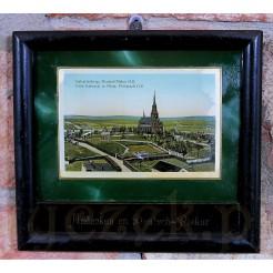 Zabytkowy souvenir - niewielki obrazek perłowy w oryginalnej oprawie.