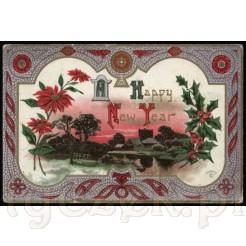 Świąteczno-noworoczna amerykańska kartka pocztowa
