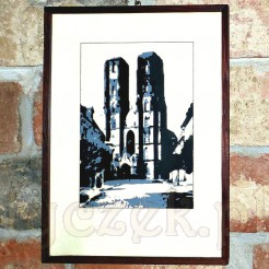 Ciekawa grafika z widokiem na wrocławską katedrę.
