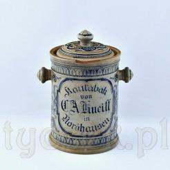 Zabytkowy pojemnik po tabace do żucia z napisami i ornamentem