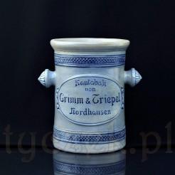 Zabytkowy słój na tabakę z siwej ceramiki z kobaltem