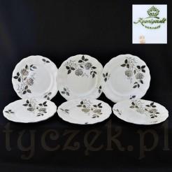 Komplet talerzy deserowych ecru w srebrne kwiaty