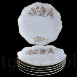 Komplet sześciu dekoracyjnych talerzy ze zdobionej porcelany