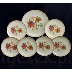 wspaniały porcelanowy komplet do deserów