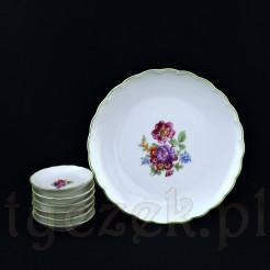 Uroczy komplet do konfitur składa się z głównego talerzyka i sześciu mniejszych spodeczków dla gości