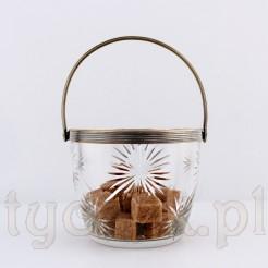Wspaniała cukierniczka z kryształu z mosiężna oprawą