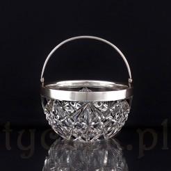Luksusowa cukierniczka kryształowa ze srebrem
