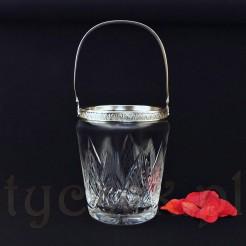 Wiaderko ze szkła kryształowego z obręczą ze srebra z pięknym ornamentem