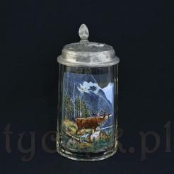 Jeleń na rykowisku - malowany emalią na kuflu kryształowym