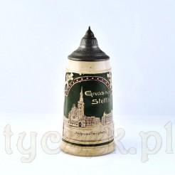 Secesyjny kufel ceramiczny z widoczkiem i napisem Stettin