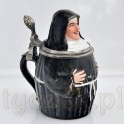 Porcelanowy antyk - figuralny kufel piny w formie zakonnicy