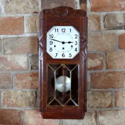 Ekskluzywny zegar Art DECO w drewnie z witrażem