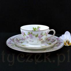 Piękna porcelanowa filiżanka z talerzykami