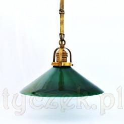 Piękna gabinetowa lampa z barwionym kloszem